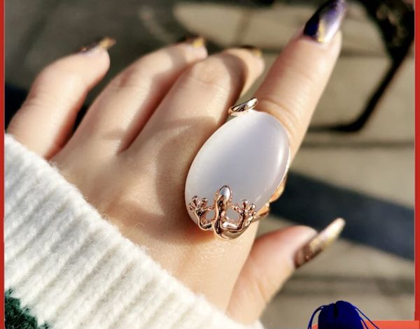 Big Oval Opal Stone Ring For Women Rose Gold Color Engagement Wedding Jewelry Bague Anel JZ010 SSB
