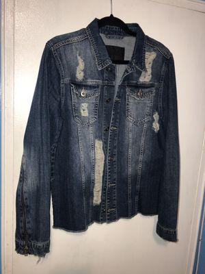 Mennace Denim Jacket with Distressing in Mid Wash for Sale in Hyattsville, MD