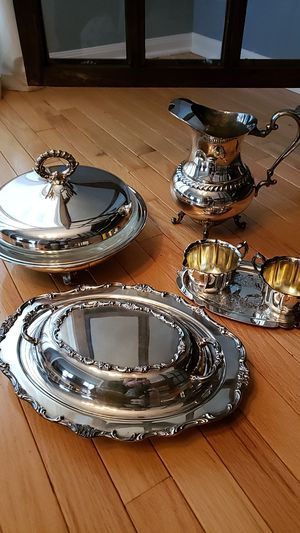 Antique Silver Serving Pieces - 6 PCS Total for Sale in Third Lake, IL