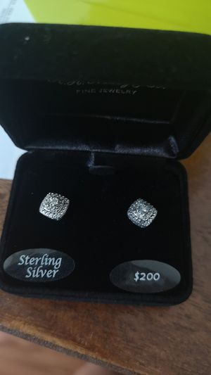 Diamond and silver earrings for Sale in Huntersville, NC