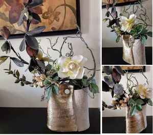 Fake plant/shrub/flower arrangement in gold vase/pot for Sale in San Jose, CA