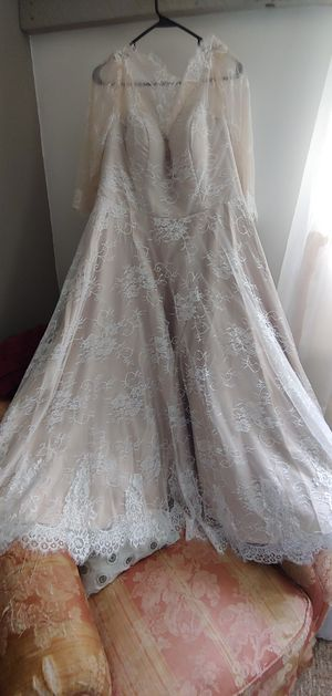 Champagne color tea length wedding dress for Sale in Thurmont, MD