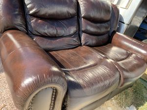 Leather couch and love seat with recliners * PLEASE READ DESCRIPTION ******* for Sale in Avondale, AZ