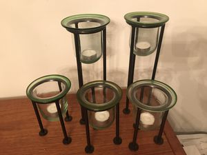 Colored glass candle sconces , green tinted rims, black metal stamds for Sale in Chester Springs, PA