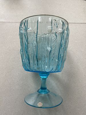 Vintage Large Blue Glass Bamboo Texture Vase Mid-Century Modern for Sale in Taylors, SC