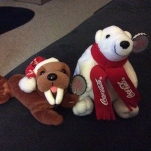 Vintage COLLECTABLE Coke Cola Bear and Rare Coke Cola Walrus Each Holding tiny Coke Cola Bottle Like New for Sale in Fremont, CA