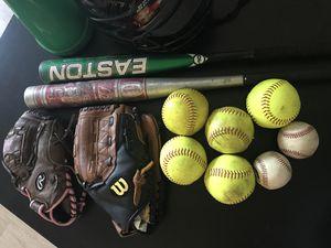 Softball / Baseball Lot - Bats, Helmet, Gloves, Balls for Sale in Portland, OR