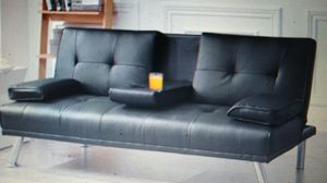 LuxuryGoods Modern PU Leather Futon w/ Cupholders & Pillows, Black for Sale in Warren Park, IN