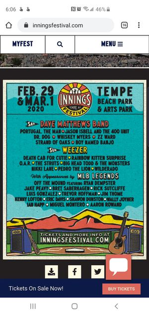 Innings festival tickets Saturday February 29th and/or Sunday March 1 for Sale in Phoenix, AZ