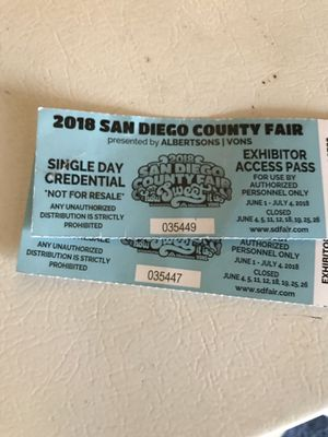 SAN DIEGO FAIR TICKET! Please read first for Sale in San Diego, CA