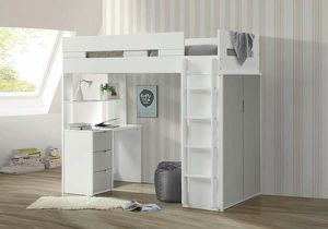 WHITE / GREY FINISH TWIN SIZE LOFT BED STORAGE SHELVING DESK WORKSTATION for Sale in Arcadia, CA