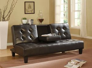 ESPRESSO Faux Leather Futon Sofa Bed with Drop Down Cup Holder for Sale in Highland, CA