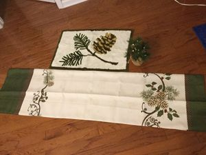 Winter pine cone theme bath rug and shower curtain for Sale in Summerville, SC