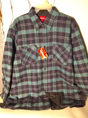 Coleman flannels With nylon quilted inside Red 3XL Blu 2XL Tan 2XL Buffer Zone green flannel 3XL tall for Sale in Chicago, IL