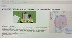 Buscando Preparador de Taxes/Impuestos -Bilingue for Sale in Avon Park, FL