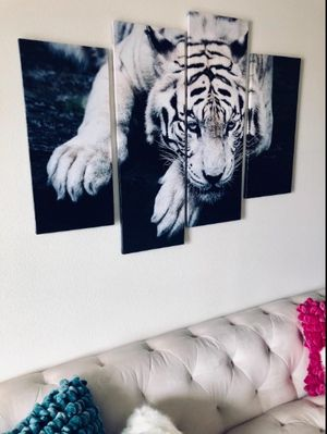 FREE SHIPPING Black and White Tiger Wall Art Print On Canvas Home Decor Painting for Sale in Little Rock, AR