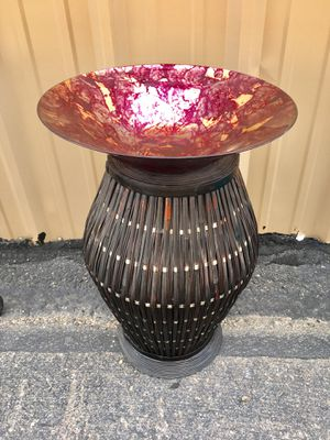 Bird Bath sweet for your patio! Rich colors on glass vase with wicker tall stand! for Sale in Pagosa Springs, CO