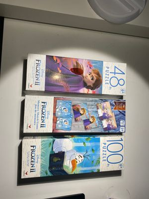 (2) Disney frozen 2 puzzles (1) 48 pcs (1) 100 pcs & memory match card game for Sale in Pompano Beach, FL