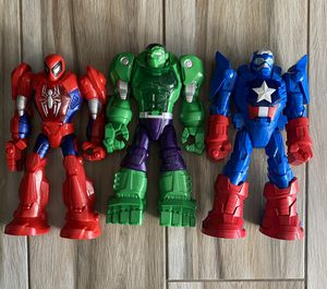 3 playskool action figures Spider-Man Hulk Captain America for Sale in Moreno Valley, CA