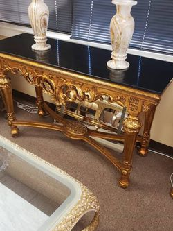 Gold Console Table with Black Top for Sale in Los Angeles,  CA