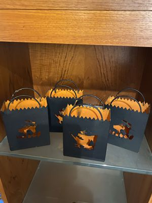 Halloween Fall Witch and Black Cat Tin Luminaries for Sale in Suffolk, VA