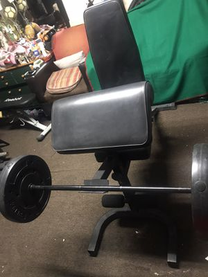 ADJUSTABLE CURL BENCH and BAR is 4ft LONG and WEIGHTS for Sale in Los Angeles, CA