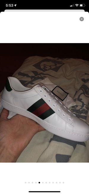 100% AUTHENTIC Genuine Gucci Ace Sneakers Low Top White Leather Size 9 US 42 Men for Sale in San Jose, CA