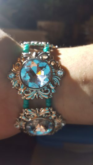 Silver Jeweled with turquoise beads Bracelet for Sale in Portland, OR