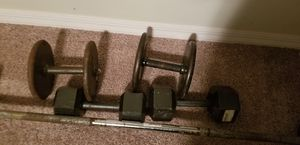Curl bar and dumbbells for Sale in TEMPLE TERR, FL