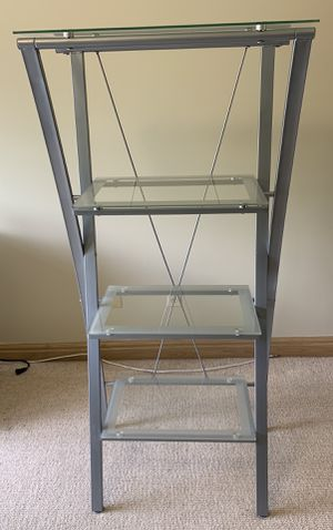 Modern contemporary Silver metal frame shelf with 4 tiers of glass shelving sturdy display shelf w matching U shaped desk! for Sale in Powell, OH