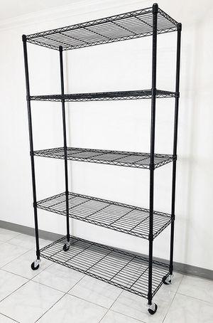 "Brand new $90 Metal 5-Shelf Shelving Storage Unit Wire Organizer Rack Adjustable w/ Wheel Casters 48x18x82"" for Sale in Santa Fe Springs, CA"