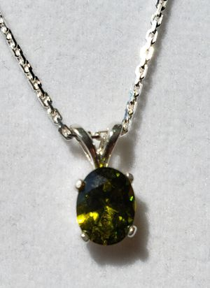 Oval Moldovite Silver Necklace for Sale in Justin, TX