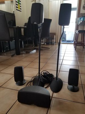 Klipsch surround sound speakers x5 with stands for Sale in Fort Lauderdale, FL