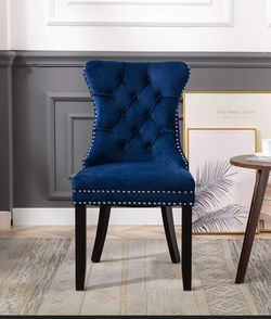 Blue Velvet Accent Nail Trim Dining Chairs velvet blue dining accent chairs wingback tufted chairs NEW with ring for Sale in La Habra Heights,  CA