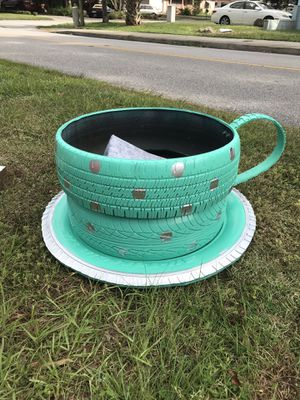 Handmade cup and saucer flower pots. $50ea for Sale in Winter Haven, FL