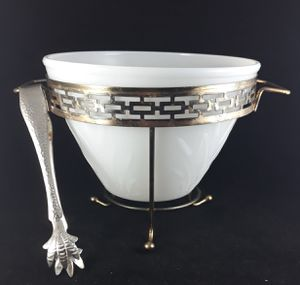 Vtg Art Deco Hollywood Regency Hazel Atlas Cattail Ice Bucket Stand Claw Tongs for Sale in Elyria, OH