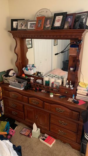 Large Solid Wood Dresser with Mirror and Storage for Sale in Pineville, NC