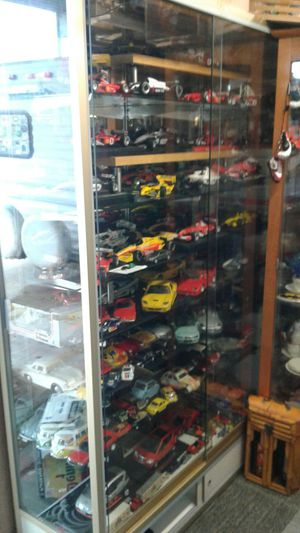 2 showglass display with collection cars for Sale in Houston, TX