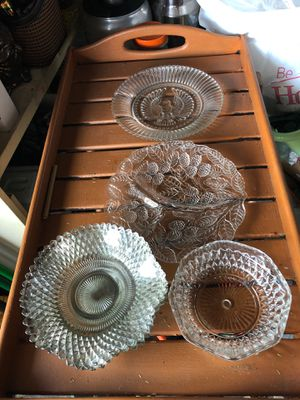 4 cut glass antique desserts plate 1 American eagle 🦅 plat,1 3 sectin plate and bowl , 7 pieces. for Sale in Bellwood, IL