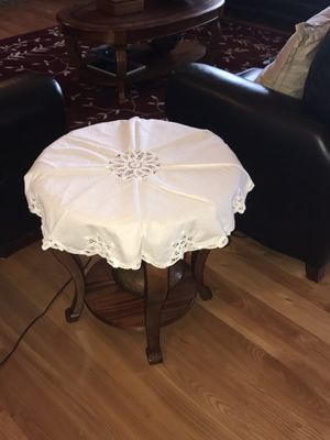 Antique Table Covering With beautifully cutout designs around the edges white round for Sale in Gresham, OR