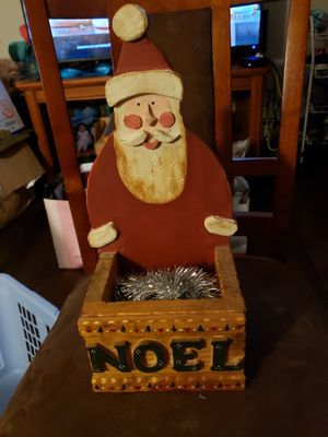 Santa wooden painted card holder or decoration for Sale in Stow, OH
