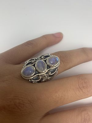 Unique sterling silver ring with moonstone gem & swirl detail, gift for her for Sale in San Marcos, CA