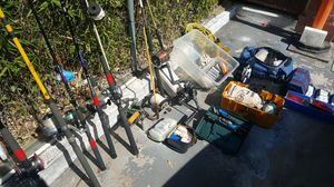 Fishing poles,plus hooks ,lines,reels,weights,plus alot more,even a anchor. for Sale in Artesia, CA
