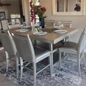 """""""FIRE SALE"""" 7- PC Silver Pub Height Breakfast Kitchen Table Set for Sale in Austin, TX"""