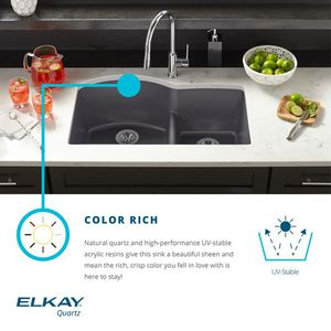Elkay by Schock Drop-In/Undermount Quartz Composite 33 in. Rounded Offset Double Bowl Kitchen Sink in Black for Sale in Chandler, AZ