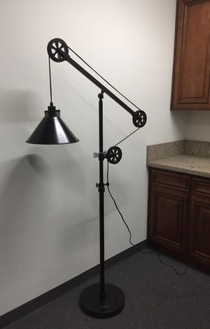 New in box 72 inches tall pulley floor lamp with led light bulb included heavy duty bronze steel finish for Sale in Covina, CA