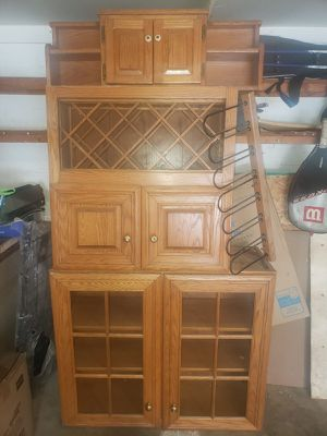 Oak wood 3 cabinets and wrought iron shelf for Sale in Eddington, PA