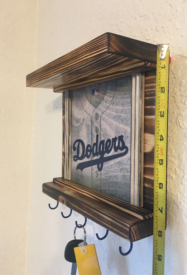 LA Dodgers wall decor Blue hooks key holder shelves Handmade Rustic