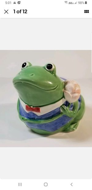 Vintage Coin Bank Green Frog Christmas Gift Money Collectable Currency Porcelain Holiday Kids Toy Bank for Sale in Northbridge, MA