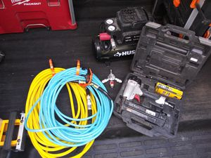 2 gal. Air compressor, 18 guage finish nailer and 3 hoses for Sale in Brookline, MA